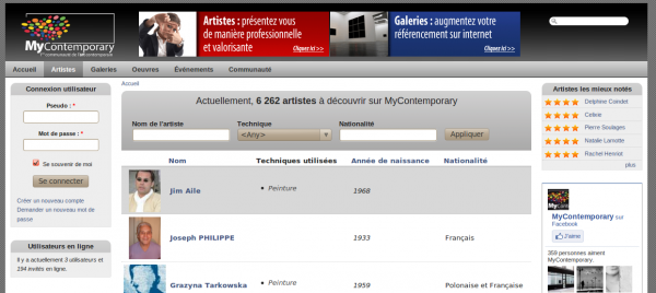 webmee - MyContemporary - liste des artistes