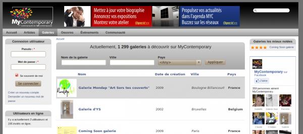 webmee - MyContemporary - liste des galeries