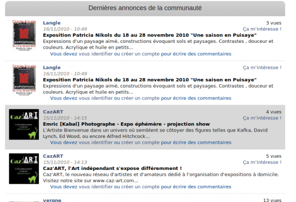 webmee - MyContemporary - annonces de la communauté des membres