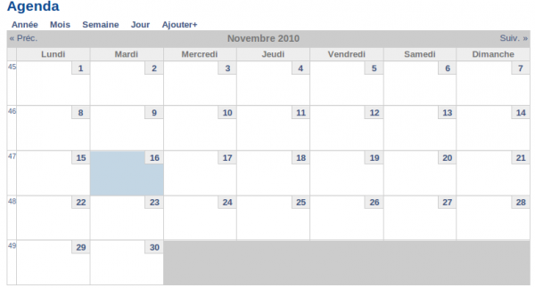 webmee MyContemporary - calendrier personnel des événements auxquels on s'abonne